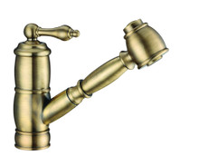 Whitehaus WHKPSL3-2222-NT-AB Vintage III Plus Single Hole Kitchen Faucet with Pull-out Spray Head - Antique Brass