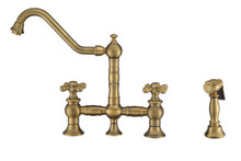 Whitehaus WHKBTCR3-9201-NT-AB Vintage III Plus Bridge Kitchen Faucet with Traditional Swivel Spout, Cross Handles and Brass Side Spray - Antique Brass