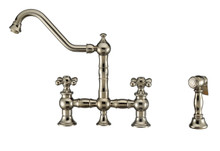 Whitehaus WHKBTCR3-9201-NT-PN Vintage III Plus Bridge Kitchen Faucet with Traditional Swivel Spout, Cross Handles and Brass Side Spray - Polished Nickel