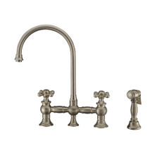Whitehaus WHKBTCR3-9101-NT-BN Vintage III Plus Bridge Kitchen Faucet with Long Gooseneck Swivel Spout, Cross Handles and Brass Side Spray - Brushed Nickel