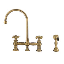 Whitehaus WHKBTCR3-9101-NT-AB Vintage III Plus Bridge Kitchen Faucet with Long Gooseneck Swivel Spout, Cross Handles and Brass Side Spray - Antique Brass
