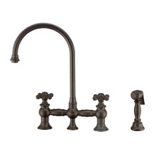 Whitehaus WHKBTCR3-9101-NT-ORB Vintage III Plus Bridge Kitchen Faucet with Long Gooseneck Swivel Spout, Cross Handles and Brass Side Spray - Oil Rubbed Bronze