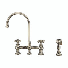 Whitehaus WHKBTCR3-9101-NT-PN Vintage III Plus Bridge Kitchen Faucet with Long Gooseneck Swivel Spout, Cross Handles and Brass Side Spray - Polished Nickel