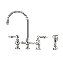 Whitehaus WHKBTLV3-9101-NT-C Vintage III Plus Bridge Kitchen Faucet with Long Gooseneck Swivel Spout, Lever Handles and Brass Side Spray - Polished Chrome