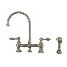 Whitehaus WHKBTLV3-9101-NT-BN Vintage III Plus Bridge Kitchen Faucet with Long Gooseneck Swivel Spout, Lever Handles and Brass Side Spray - Brushed Nickel