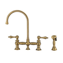 Whitehaus WHKBTLV3-9101-NT-AB Vintage III Plus Bridge Kitchen  =Faucet with Long Gooseneck Swivel Spout, Lever Handles and Brass Side Spray - Antique Brass