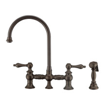 Whitehaus WHKBTLV3-9101-NT-ORB Vintage III Plus Bridge Kitchen Faucet with Long Gooseneck Swivel Spout, Lever Handles and Brass Side Spray - Oil Rubbed Bronze