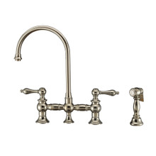 Whitehaus WHKBTLV3-9101-NT-PN Vintage III Plus Bridge Kitchen Faucet with Long Gooseneck Swivel Spout, Lever Handles and Brass Side Spray - Polished Nickel