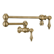 Whitehaus WHKPFLV3-9550-NT-AB Vintage III Plus Wall Mount Retractable Swing Spout Pot Filler Faucet with Lever Handles - Antique Brass