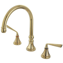 Kingston Brass Two Handle Roman Tub Filler Faucet - Polished Brass KS2342ZL