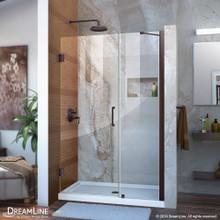 DreamLine Unidoor 41-42 in. W x 72 in. H Frameless Hinged Shower Door with Support Arm in Oil Rubbed Bronze