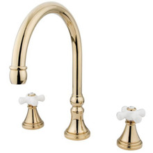 Kingston Brass Two Handle Roman Tub Filler Faucet - Polished Brass KS2342PX