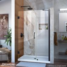 DreamLine Unidoor 42-43 in. W x 72 in. H Frameless Hinged Shower Door with Support Arm in Satin Black
