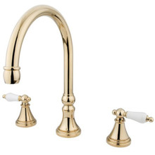 Kingston Brass Two Handle Roman Tub Filler Faucet - Polished Brass KS2342PL