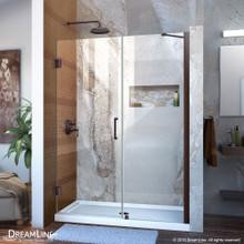 DreamLine Unidoor 47-48 in. W x 72 in. H Frameless Hinged Shower Door with Support Arm in Oil Rubbed Bronze