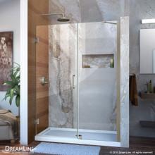 DreamLine Unidoor 48-49 in. W x 72 in. H Frameless Hinged Shower Door with Support Arm in Brushed Nickel