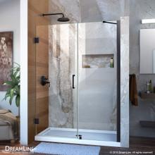 DreamLine Unidoor 47-48 in. W x 72 in. H Frameless Hinged Shower Door with Support Arm in Satin Black