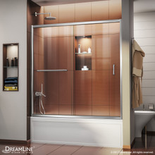 DreamLine Infinity-Z 56-60 in. W x 58 in. H Semi-Frameless Sliding Tub Door, Clear Glass in Chrome
