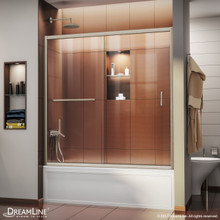 DreamLine Infinity-Z 56-60 in. W x 58 in. H Semi-Frameless Sliding Tub Door, Clear Glass in Brushed Nickel