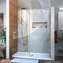 DreamLine Unidoor 54-55 in. W x 72 in. H Frameless Hinged Shower Door with Support Arm in Brushed Nickel