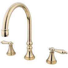 Kingston Brass Two Handle Roman Tub Filler Faucet - Polished Brass KS2342AL