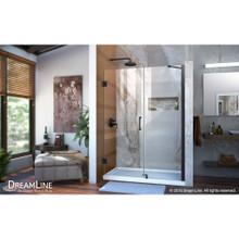 DreamLine Unidoor 53-54 in. W x 72 in. H Frameless Hinged Shower Door with Support Arm in Satin Black