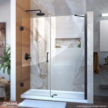 DreamLine Unidoor 54-55 in. W x 72 in. H Frameless Hinged Shower Door with Support Arm in Satin Black