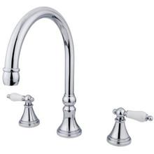 Kingston Brass Two Handle Roman Tub Filler Faucet - Polished Chrome KS2341PL