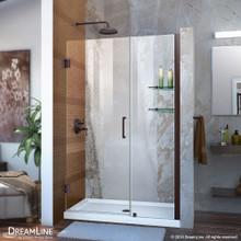 DreamLine Unidoor 41-42 in. W x 72 in. H Frameless Hinged Shower Door with Shelves in Oil Rubbed Bronze