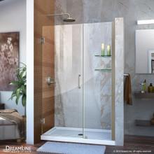 DreamLine Unidoor 42-43 in. W x 72 in. H Frameless Hinged Shower Door with Shelves in Brushed Nickel