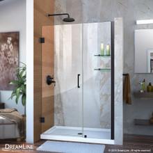 DreamLine Unidoor 42-43 in. W x 72 in. H Frameless Hinged Shower Door with Shelves in Satin Black