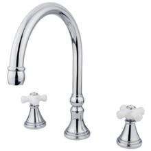 Kingston Brass Two Handle Roman Tub Filler Faucet - Polished Chrome KS2341PX