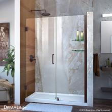 DreamLine Unidoor 47-48 in. W x 72 in. H Frameless Hinged Shower Door with Shelves in Oil Rubbed Bronze