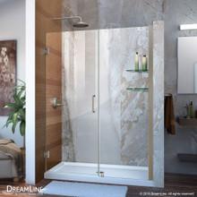 DreamLine Unidoor 48-49 in. W x 72 in. H Frameless Hinged Shower Door with Shelves in Brushed Nickel