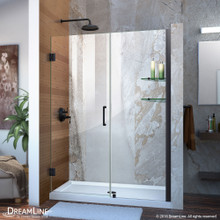 DreamLine Unidoor 47-48 in. W x 72 in. H Frameless Hinged Shower Door with Shelves in Satin Black