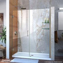 DreamLine Unidoor 53-54 in. W x 72 in. H Frameless Hinged Shower Door with Shelves in Brushed Nickel