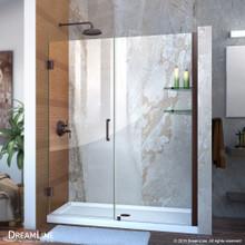 DreamLine Unidoor 53-54 in. W x 72 in. H Frameless Hinged Shower Door with Shelves in Oil Rubbed Bronze