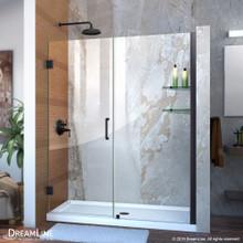 DreamLine Unidoor 54-55 in. W x 72 in. H Frameless Hinged Shower Door with Shelves in Satin Black
