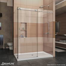 DreamLine Enigma-X 32 1/2 in. D x 60 3/8 in. W x 76 in. H Fully Frameless Sliding Shower Enclosure in Polished Stainless Steel
