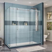 DreamLine Enigma-X 32 1/2 in. D x 72 3/8 in. W x 76 in. H Fully Frameless Sliding Shower Enclosure in Brushed Stainless Steel