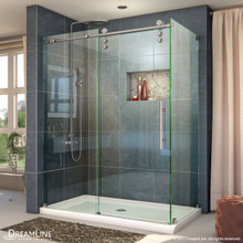 DreamLine Enigma-Z 34 1/2 in. D x 60 3/8 in. W x 76 in. H Fully Frameless Sliding Shower Enclosure in Brushed Stainless Steel