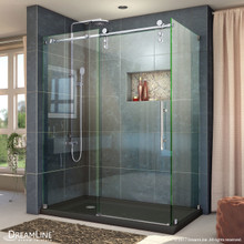 DreamLine Enigma-Z 34 1/2 in. D x 60 3/8 in. W x 76 in. H Fully Frameless Sliding Shower Enclosure in Polished Stainless Steel