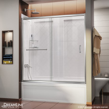 DreamLine Infinity-Z 56-60 in. W  x 60 in. H Clear Sliding Tub Door in Chrome with White Acrylic Backwall Kit