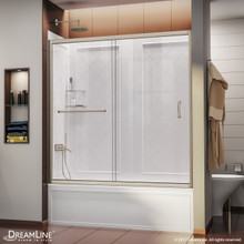 DreamLine Infinity-Z 56-60 in. W  x 60 in. H Clear Sliding Tub Door in Brushed Nickel with White Acrylic Backwall Kit