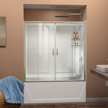 DreamLine Visions 56-60 in. W x 60 in. H Semi-Frameless Sliding Tub Door in Brushed Nickel with White Acrylic Backwall Kit