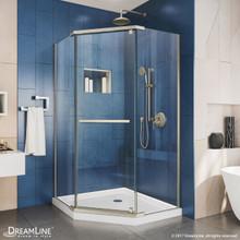 DreamLine Prism 34 1/8 in. D x 34 1/8 in. W x 72 in. H Frameless Pivot Shower Enclosure in Brushed Nickel