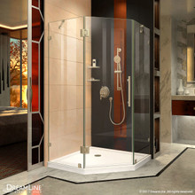 DreamLine Prism Lux 36 5/16 in. D x 36 5/16 in. W x 72 in. H Fully Frameless Hinged Shower Enclosure in Brushed Nickel
