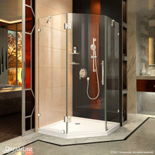DreamLine Prism Lux 38 in. D x 38 in. W x 72 in. H Fully Frameless Hinged Shower Enclosure in Chrome