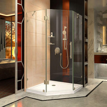DreamLine Prism Lux 38 in. D x 38 in. W x 72 in. H Fully Frameless Hinged Shower Enclosure in Brushed Nickel