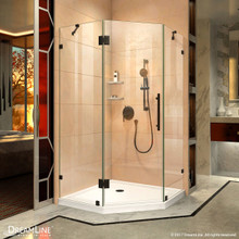 DreamLine Prism Lux 38 in. D x 38 in. W x 72 in. H Fully Frameless Hinged Shower Enclosure in Satin Black
